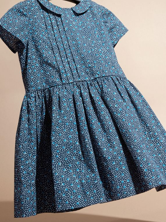 Pale navy Pleat Detail Painterly Spot Print Cotton Dress - cell image 2