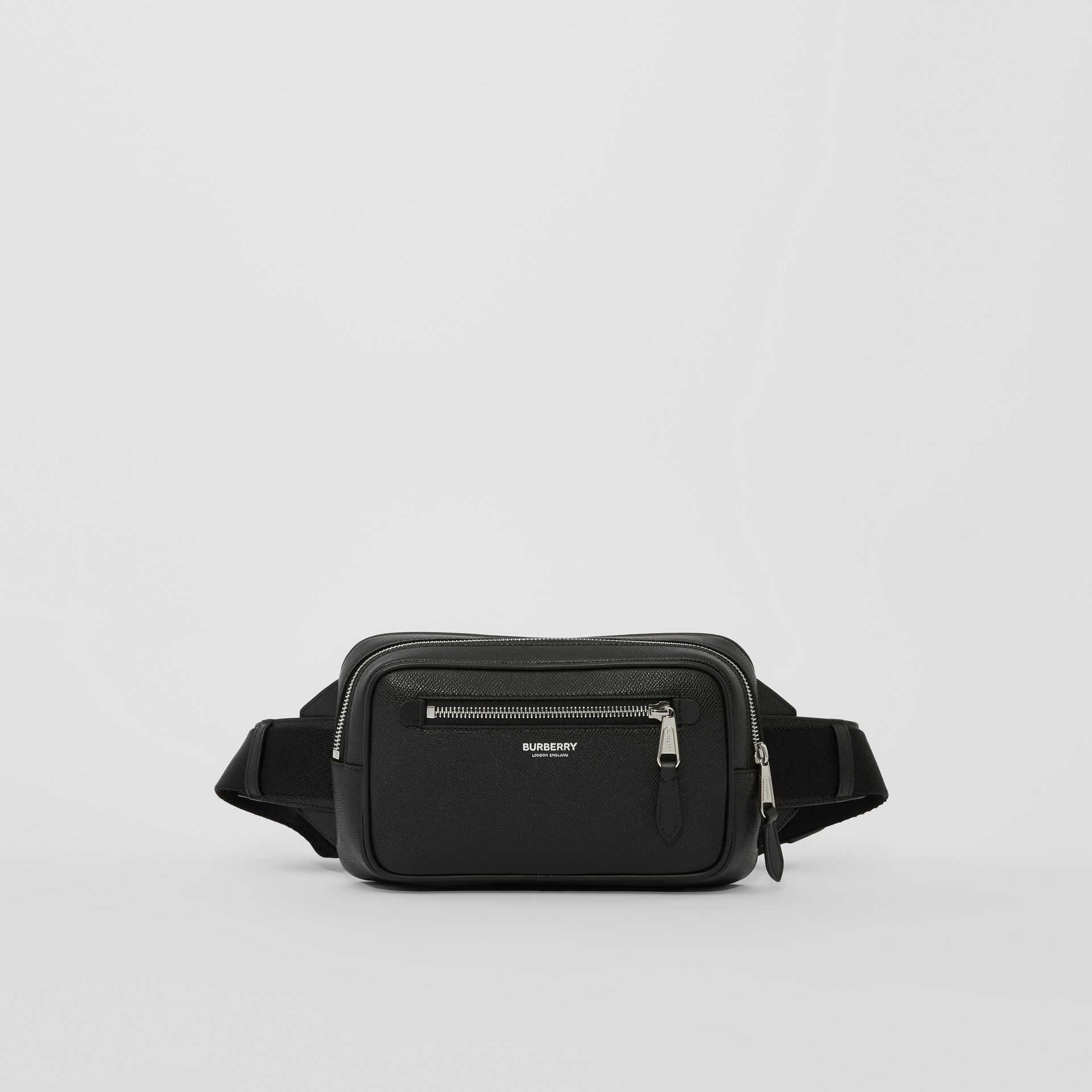 Grainy Leather Bum Bag in Black - Men | Burberry - gallery image 0