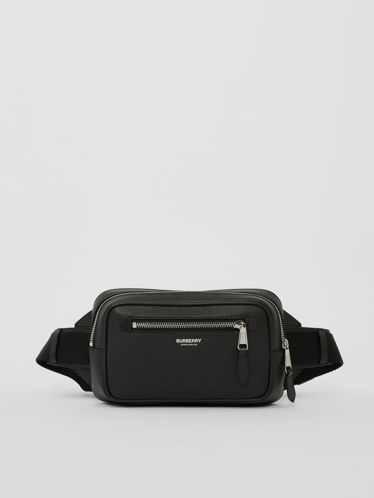 Grainy Leather Bum Bag in Black