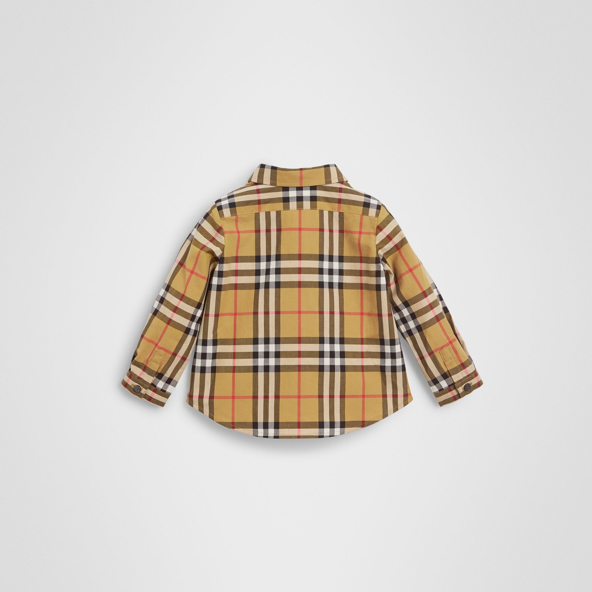 Button-down Collar Vintage Check Cotton Shirt in Antique Yellow - Children | Burberry Singapore - gallery image 3