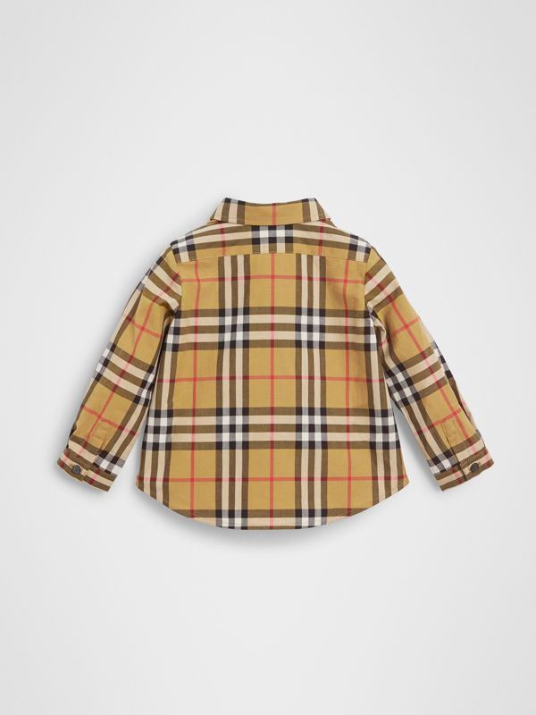 Button-down Collar Vintage Check Cotton Shirt in Antique Yellow - Children | Burberry - cell image 3