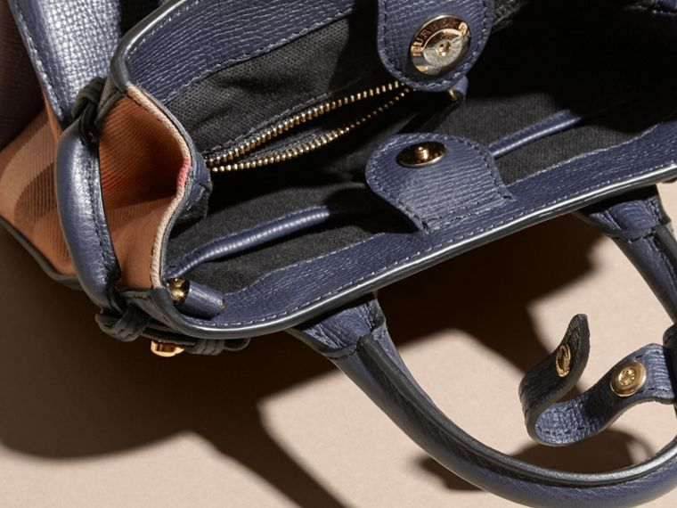 The Baby Banner in Leather and House Check in Ink Blue - Women | Burberry - cell image 4