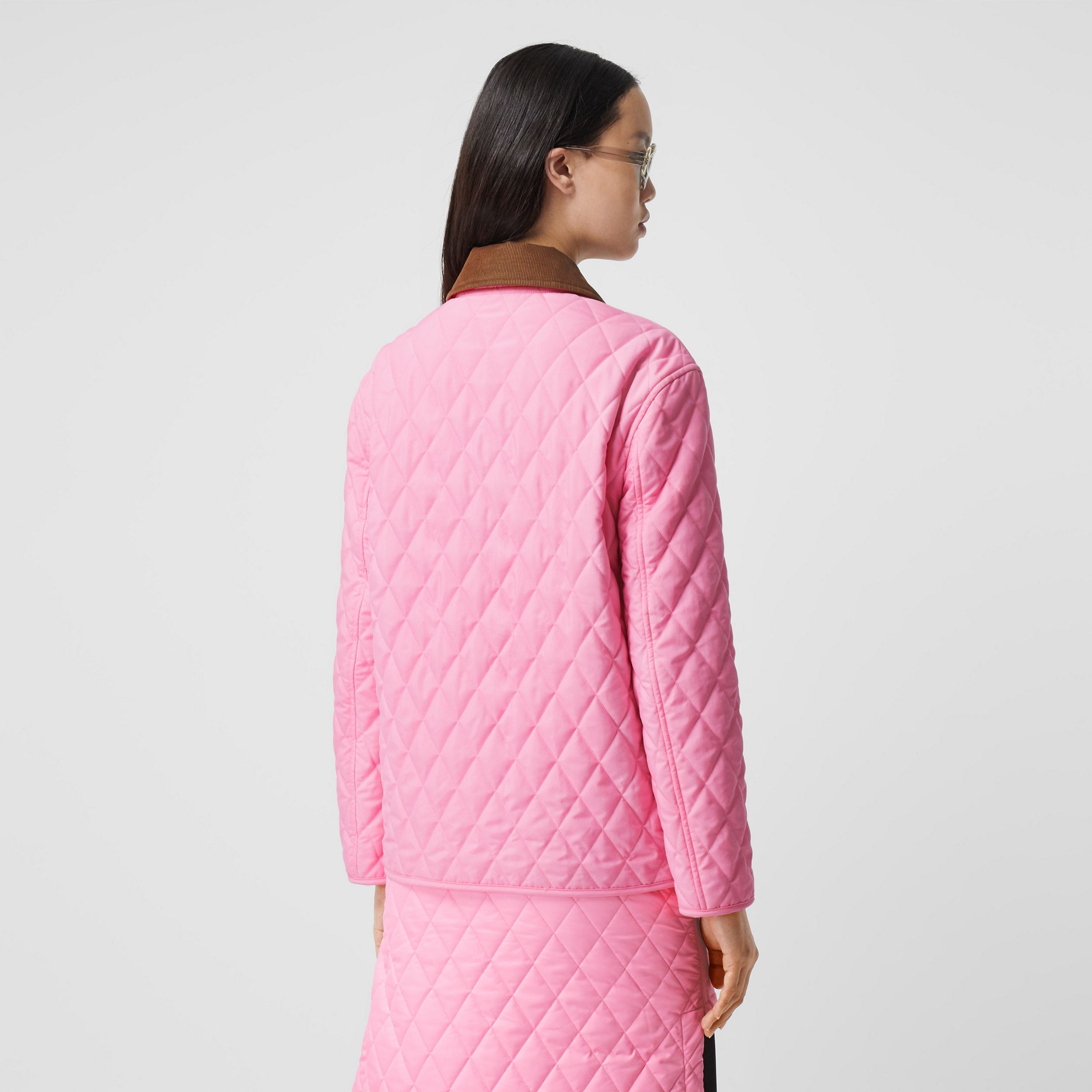 Corduroy Collar Diamond Quilted Jacket in Bubblegum Pink - Women | Burberry - 3