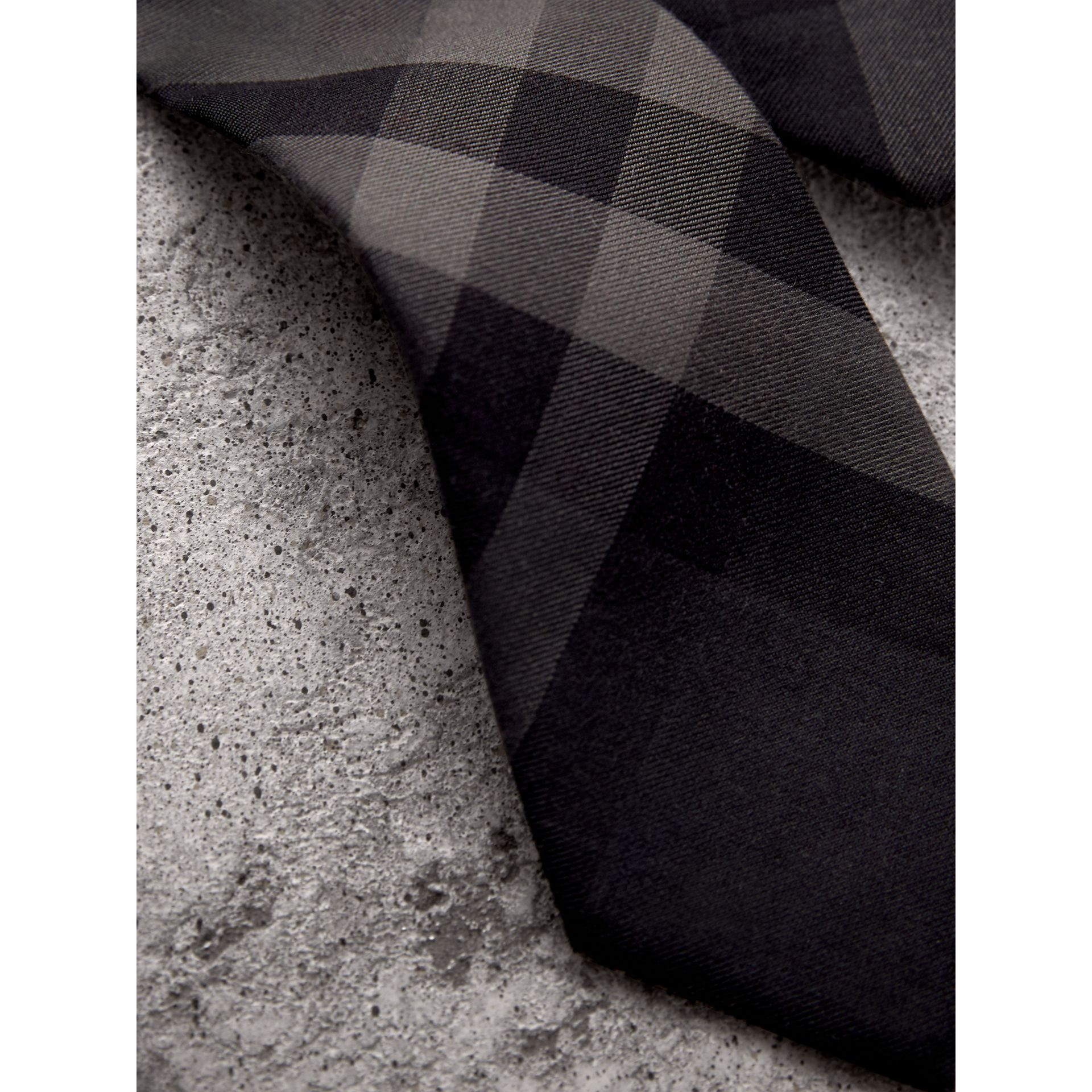 Modern Cut Check Cotton Cashmere Tie in Charcoal - Men | Burberry - gallery image 1