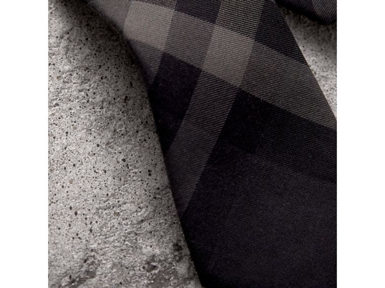 Modern Cut Check Cotton Cashmere Tie in Charcoal - Men | Burberry United Kingdom - cell image 1