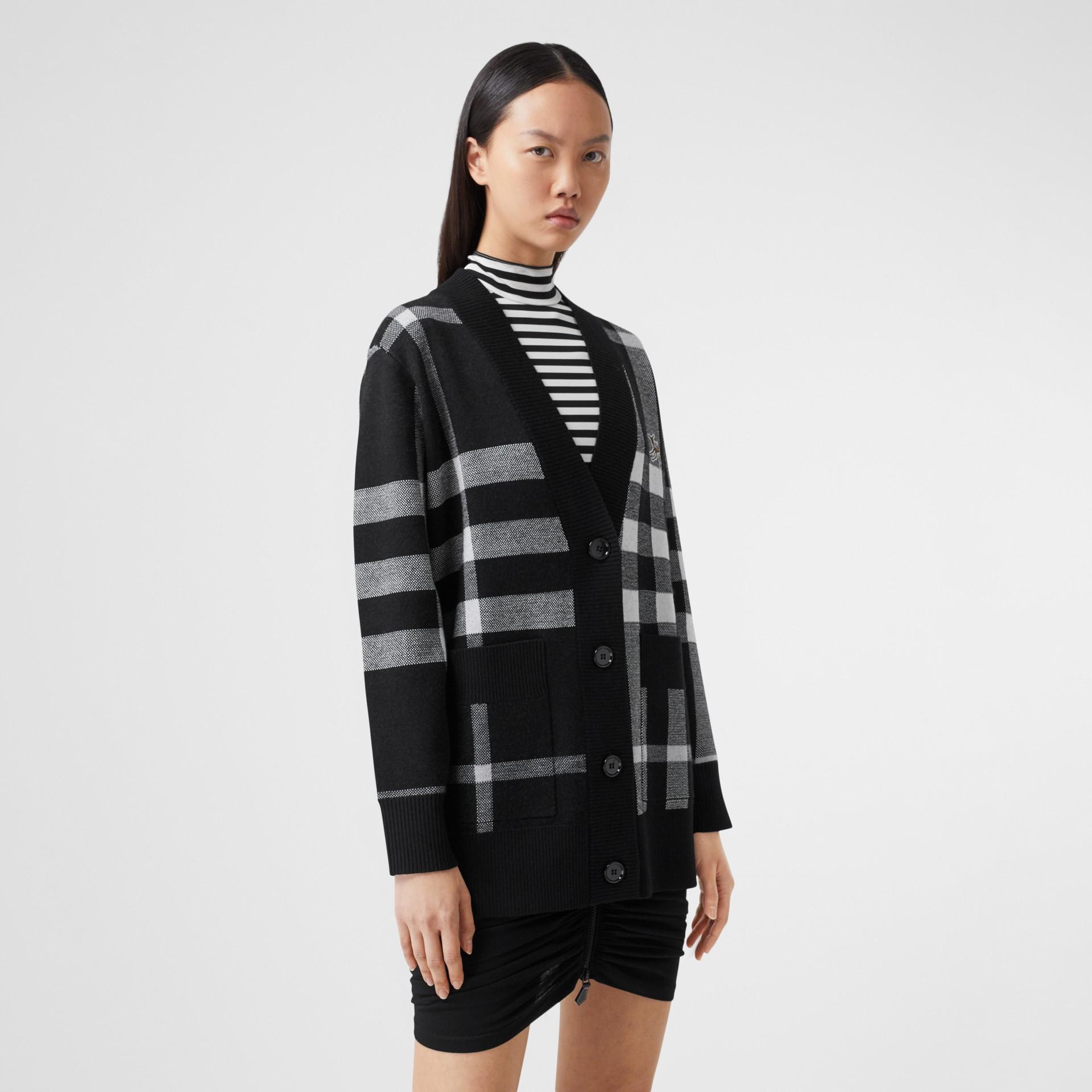 Deer Motif Check Wool Blend Jacquard Cardigan in Black - Women | Burberry - gallery image 4