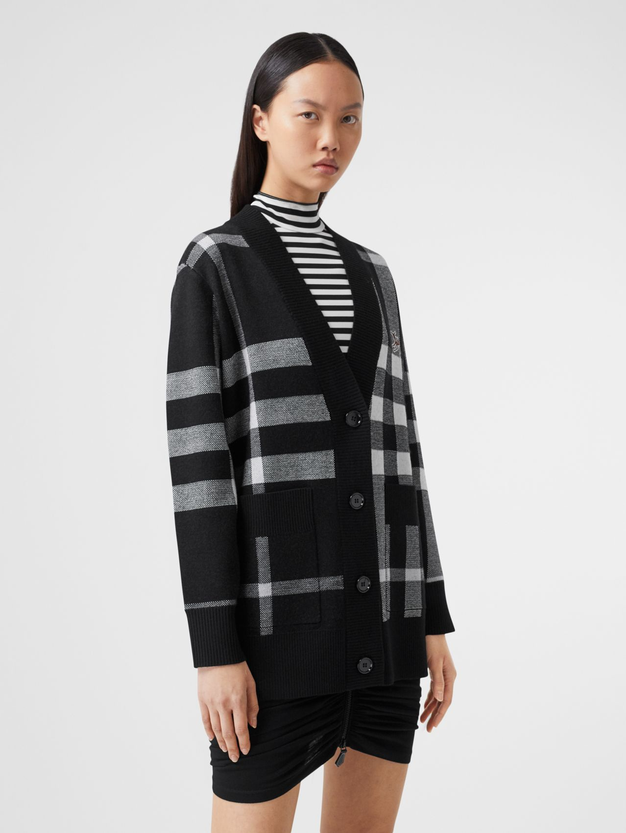 Deer Motif Check Wool Blend Jacquard Cardigan in Black