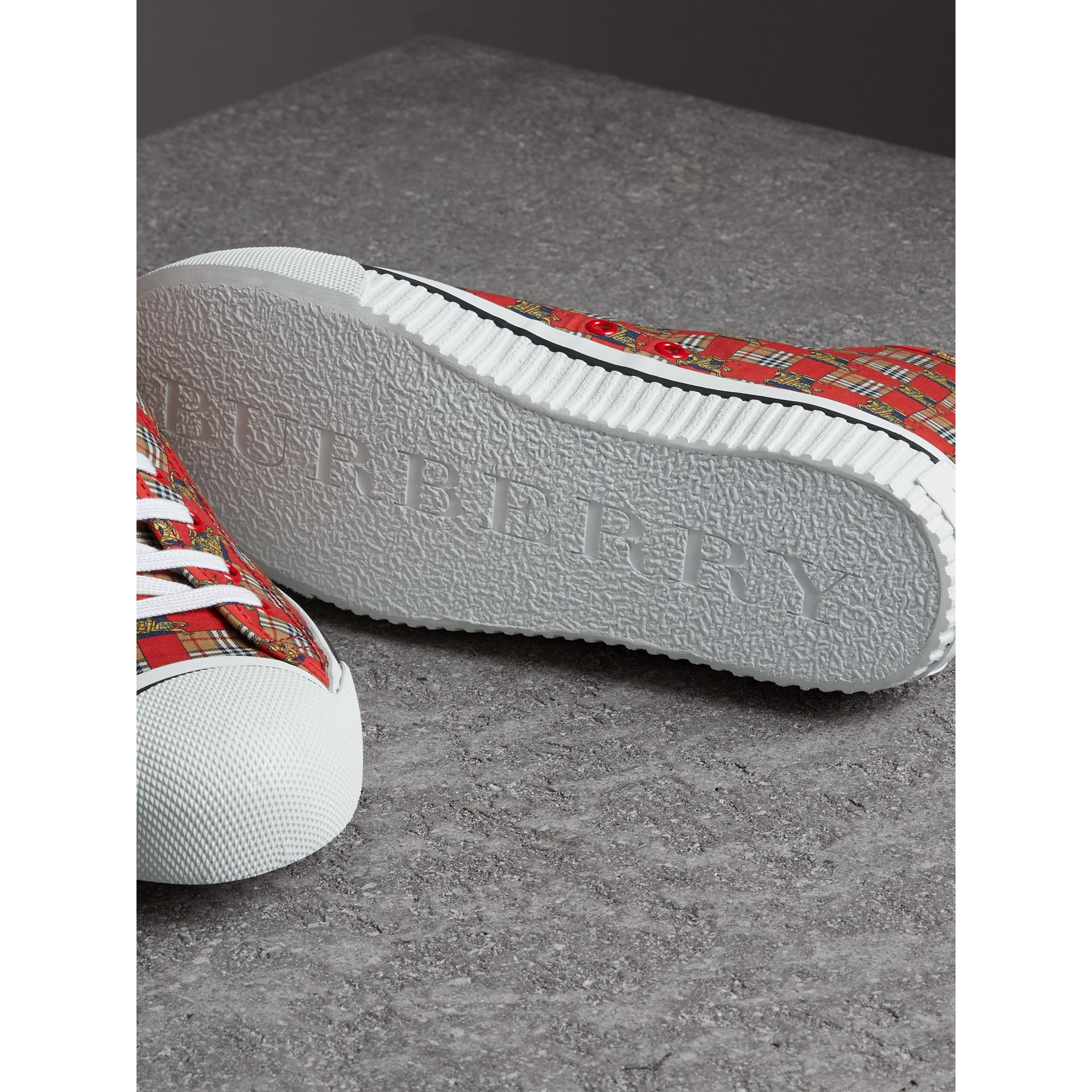 Tiled Archive Print Cotton High-top Sneakers in Bright Red | Burberry - gallery image 1