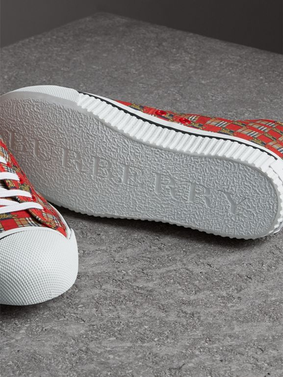 Tiled Archive Print Cotton High-top Sneakers in Bright Red | Burberry - cell image 1