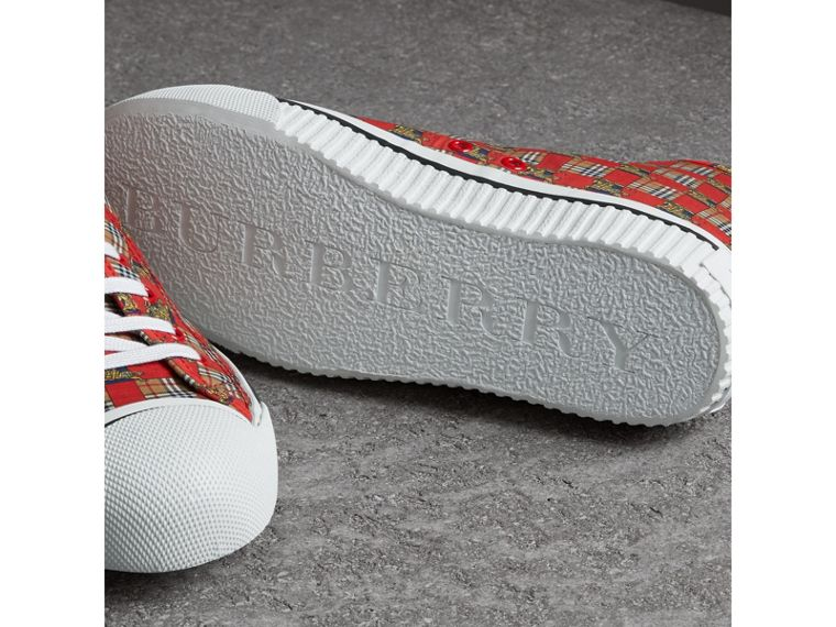 Tiled Archive Print Cotton High-top Sneakers in Bright Red - Men | Burberry Hong Kong - cell image 1