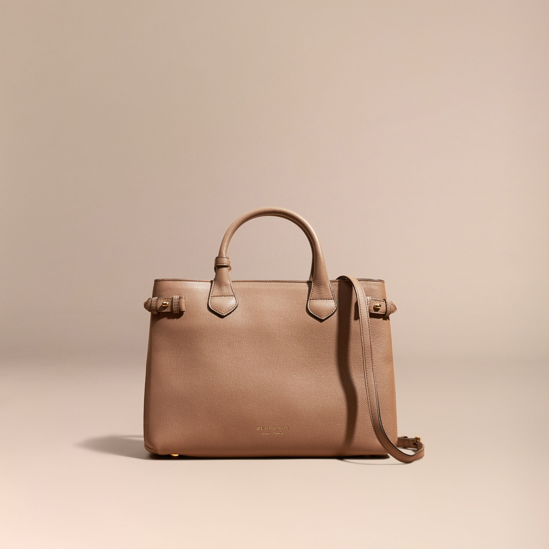 The Medium Banner in Leather and House Check in Dark Sand - Women | Burberry - gallery image 9