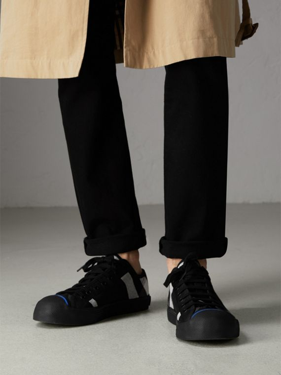 Canvas Check and Leather Sneakers in Black - Men | Burberry - cell image 2