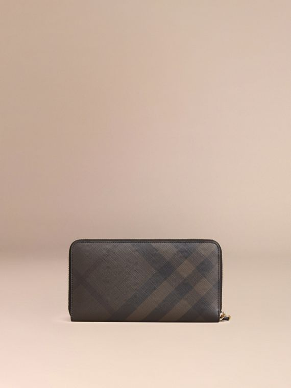 London Check Ziparound Wallet in Chocolate/black - Men | Burberry Australia - cell image 2