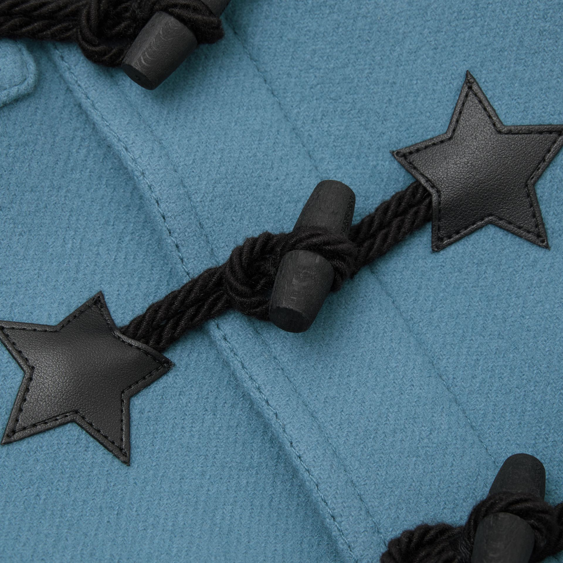 Faux Leather Star Detail Wool Blend Duffle Coat in Dusty Blue - Children | Burberry United States - gallery image 1