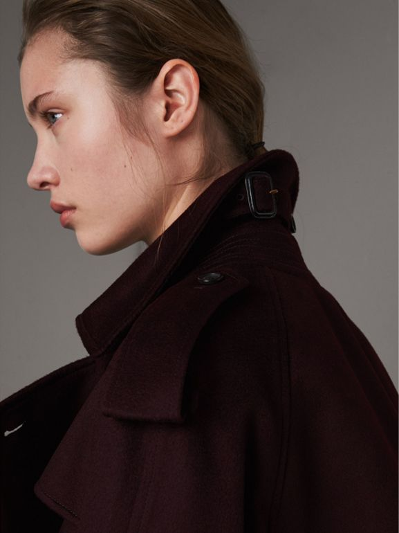 Cashmere Trench Coat in Blackcurrant - Women | Burberry United Kingdom - cell image 1