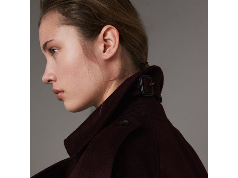 Cashmere Trench Coat in Blackcurrant - Women | Burberry - cell image 1