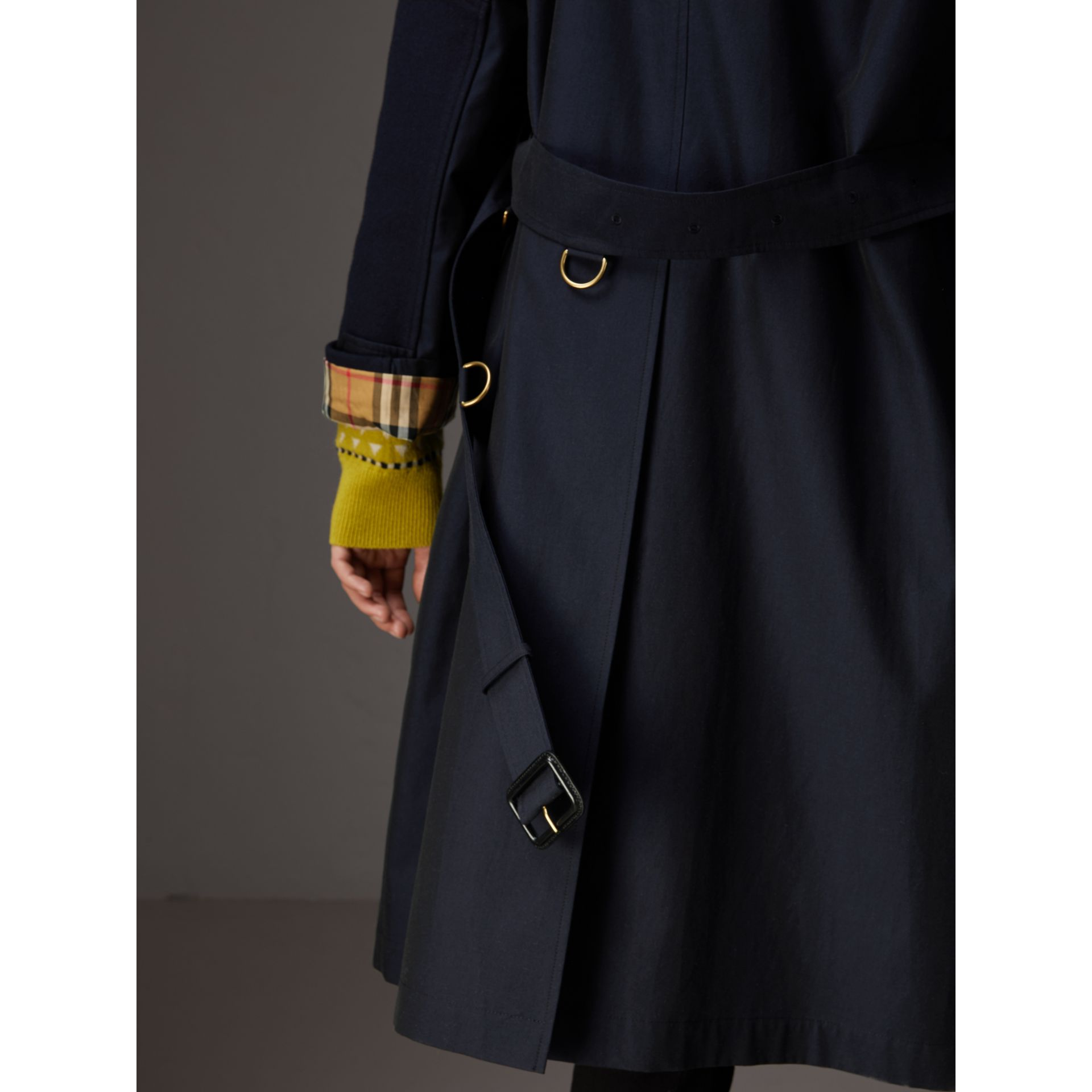 Tropical Gabardine Asymmetric Trench Coat in Blue Carbon - Women | Burberry - gallery image 5