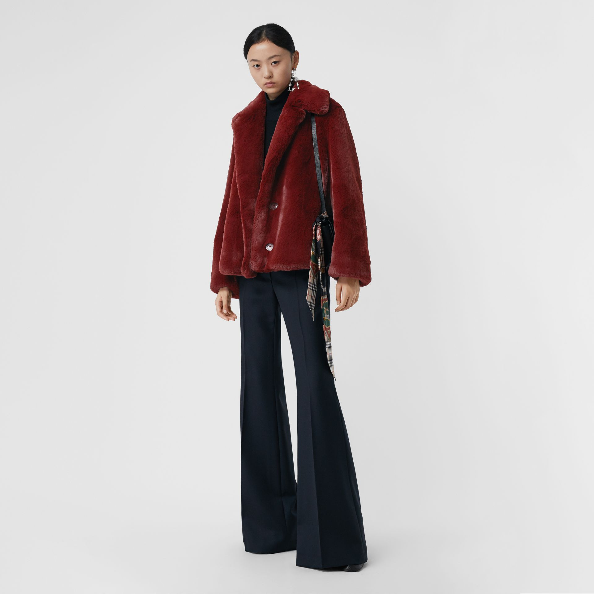Faux Fur Single-Breasted Jacket in Burgundy - Women | Burberry Australia - gallery image 0
