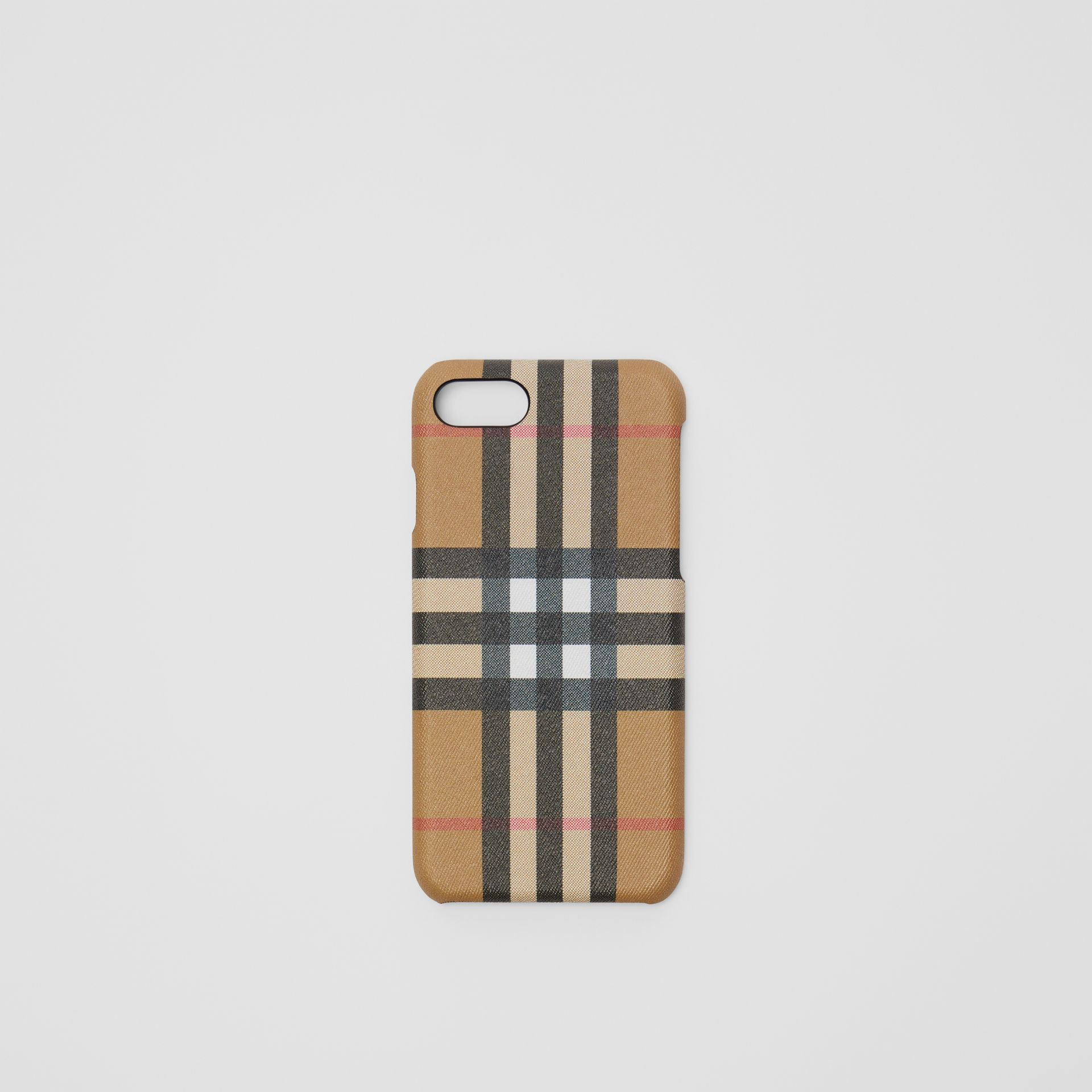 Vintage Check and Leather iPhone 8 Case in Black | Burberry Canada - gallery image 0
