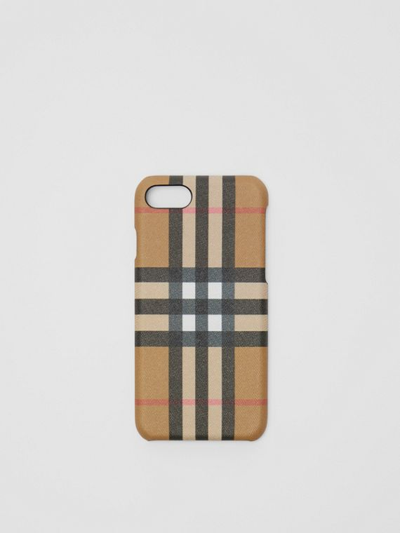 Custodia per iPhone 8 in pelle e motivo Vintage check (Nero)