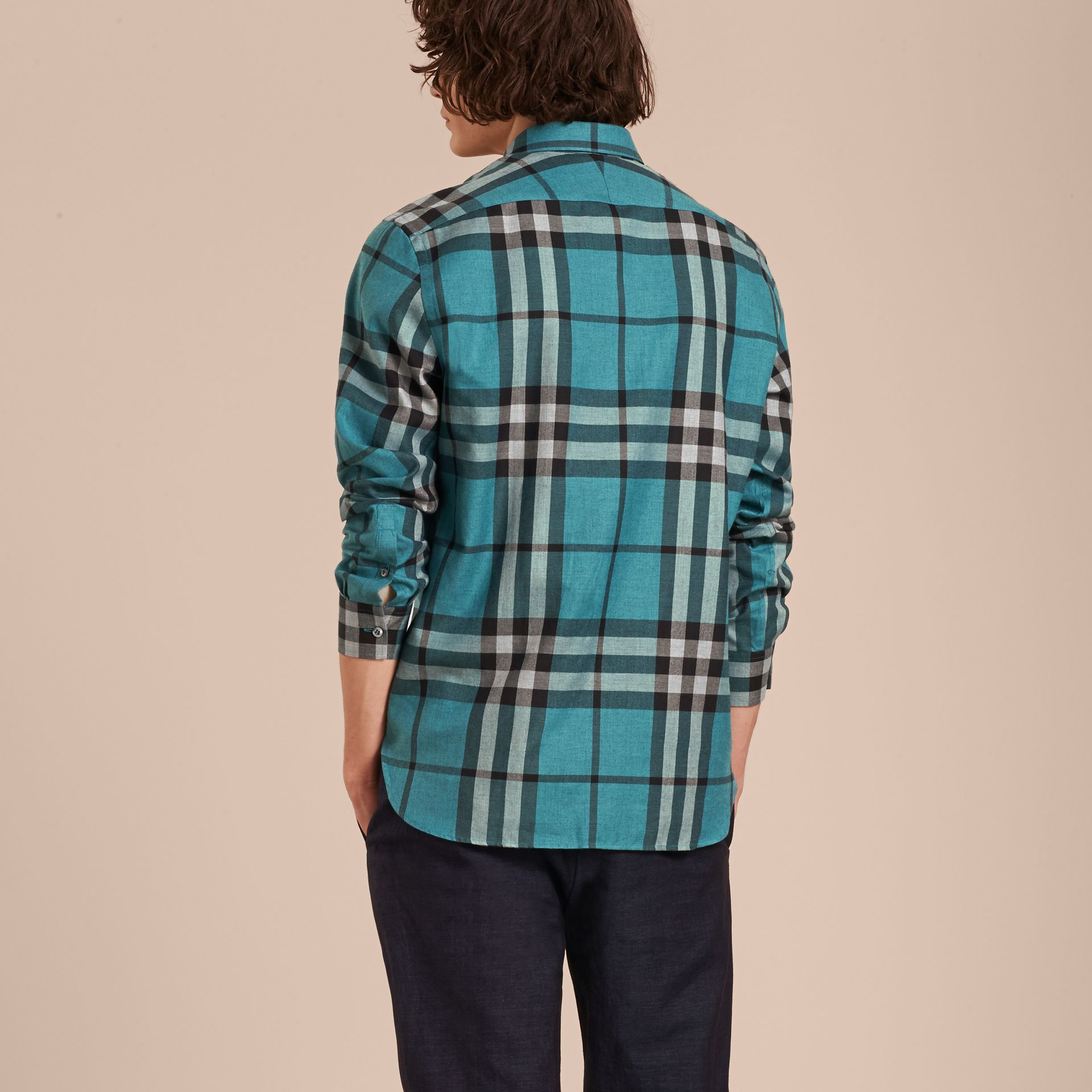 Check Cotton Cashmere Flannel Shirt in Bright Turquoise - gallery image 3