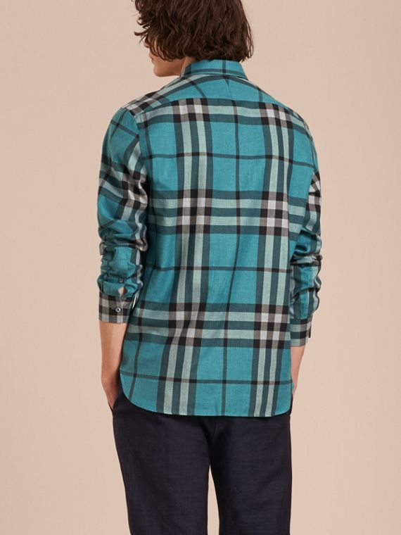 Check Cotton Cashmere Flannel Shirt in Bright Turquoise - cell image 2