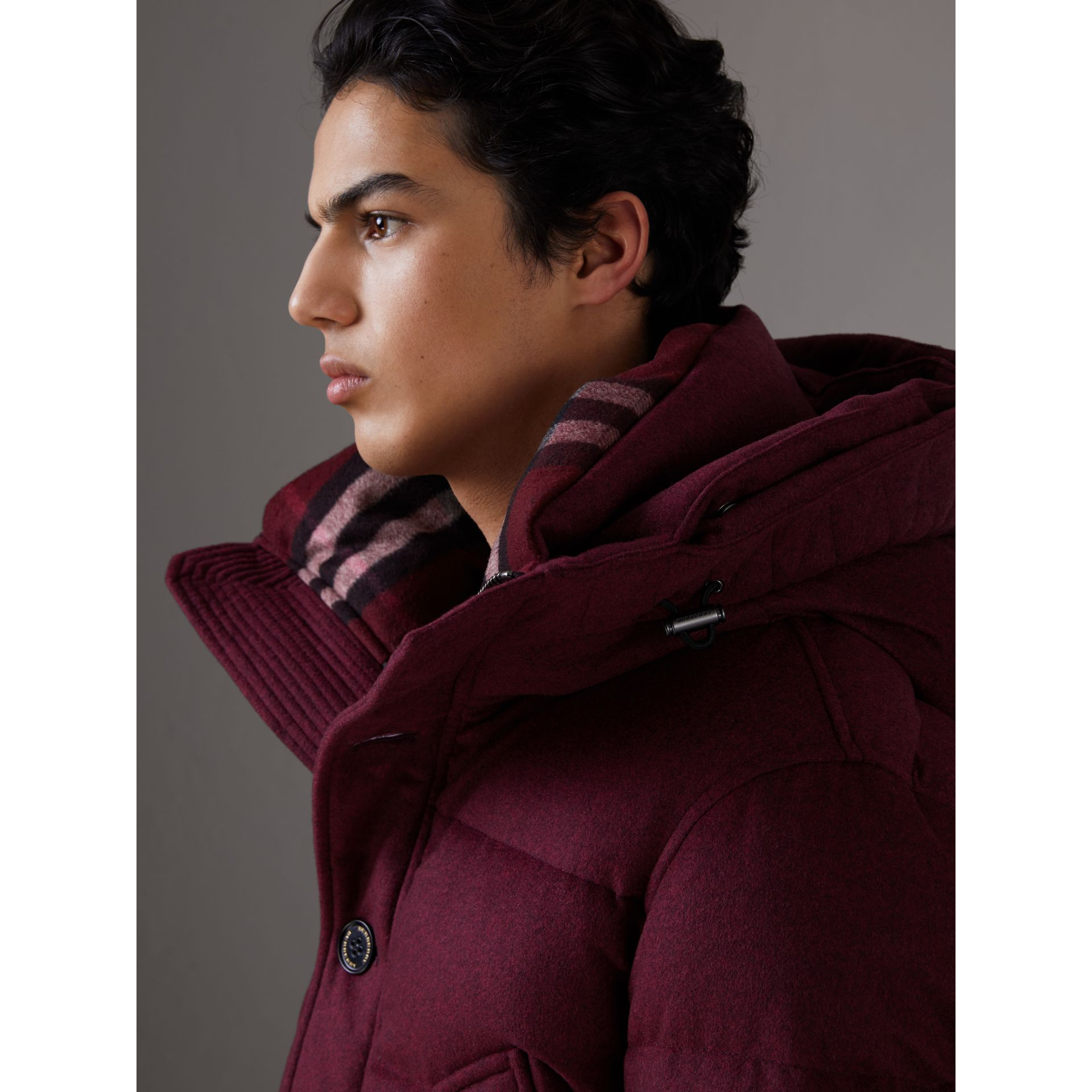 Short Detachable Fur Trim Cashmere Puffer Jacket in Dark Plum Melange - Men | Burberry - gallery image 4