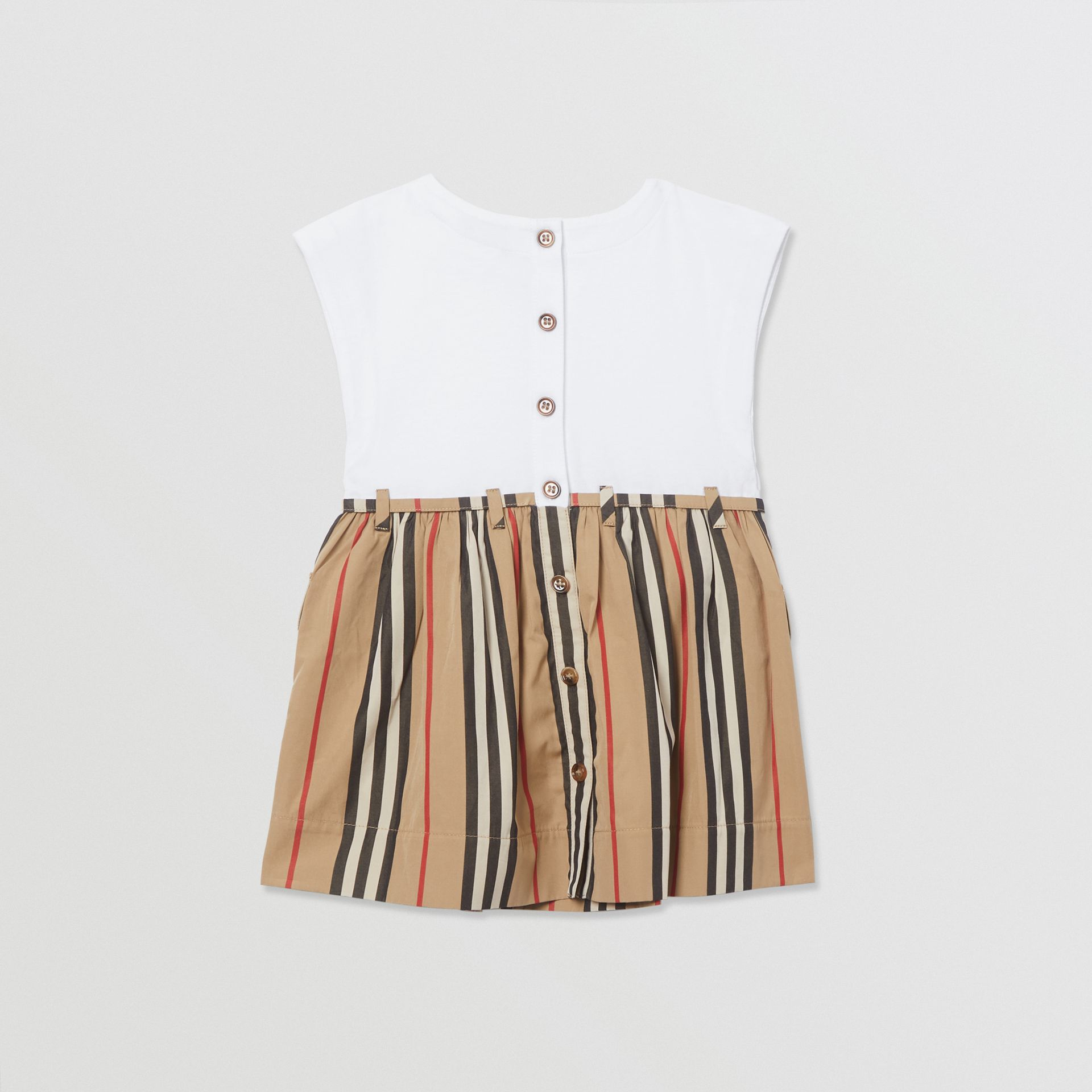 Vestido de algodão com listras icônicas (Branco/bege Clássico) - Crianças | Burberry - galeria de imagens 3