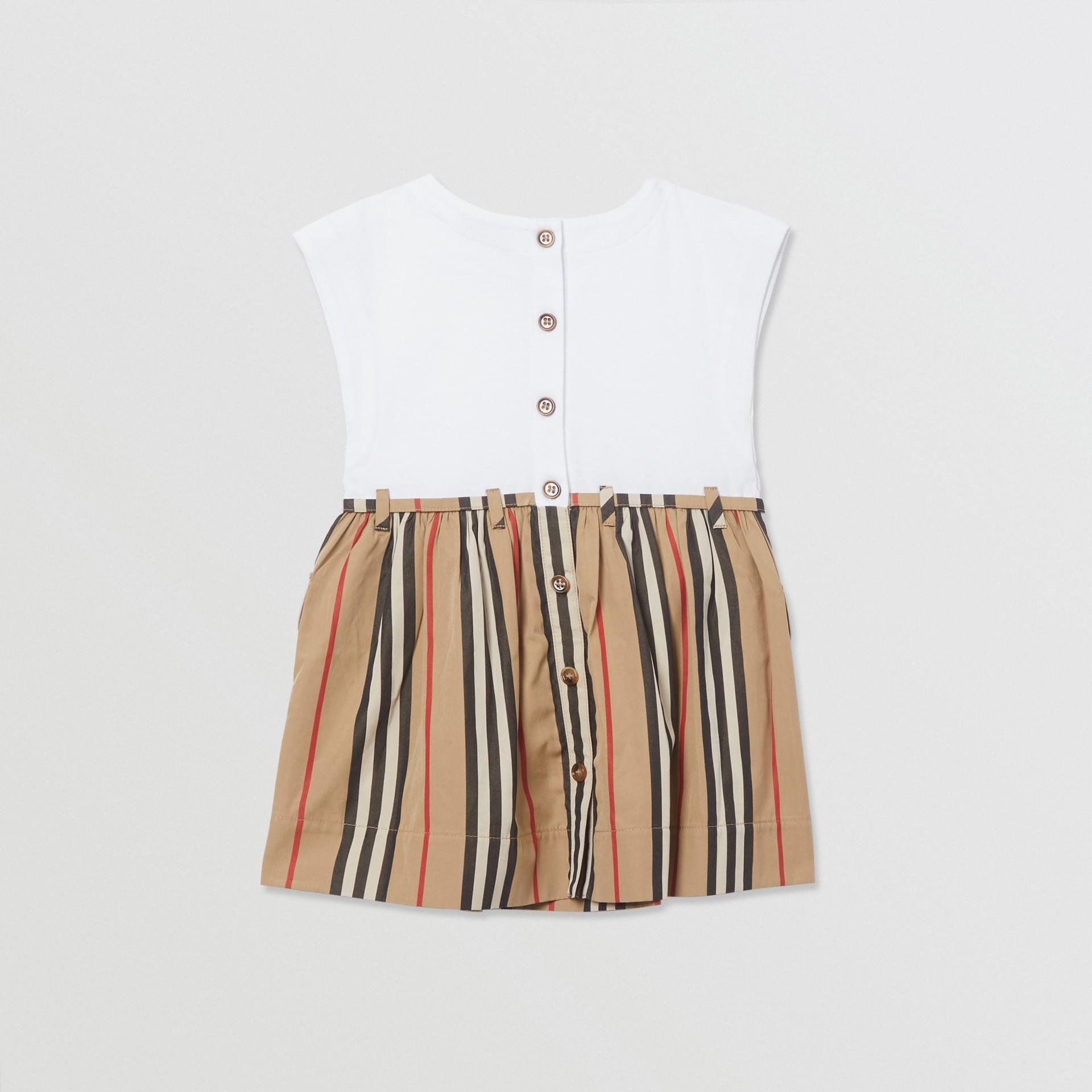 Icon Stripe Cotton Dress in White/archive Beige - Children | Burberry - gallery image 3