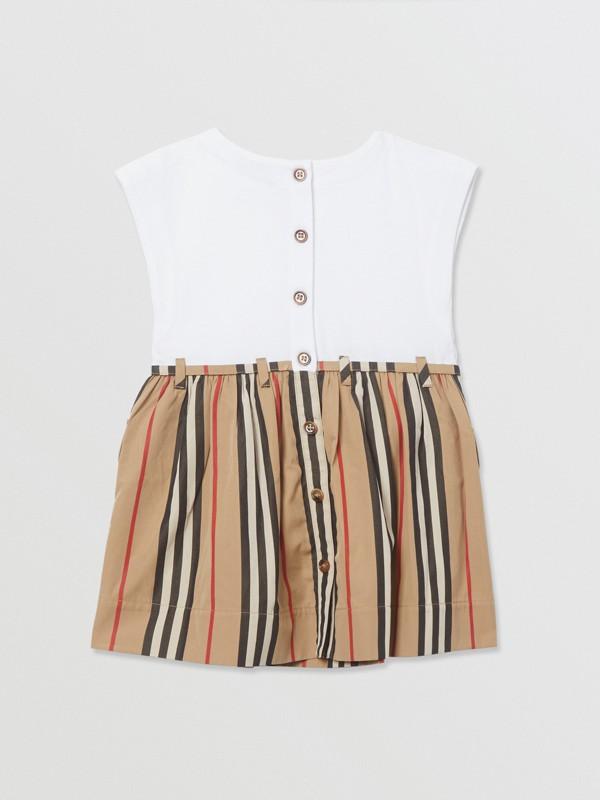 Icon Stripe Cotton Dress in White/archive Beige - Children | Burberry - cell image 3