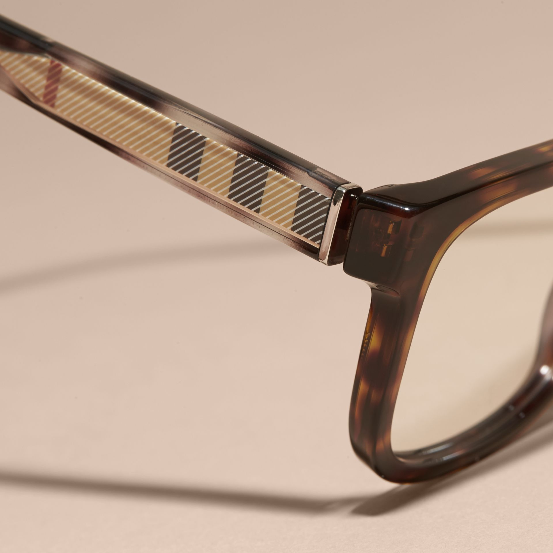 Light russet brown Check Detail Rectangular Optical Frames Light Russet Brown - gallery image 2