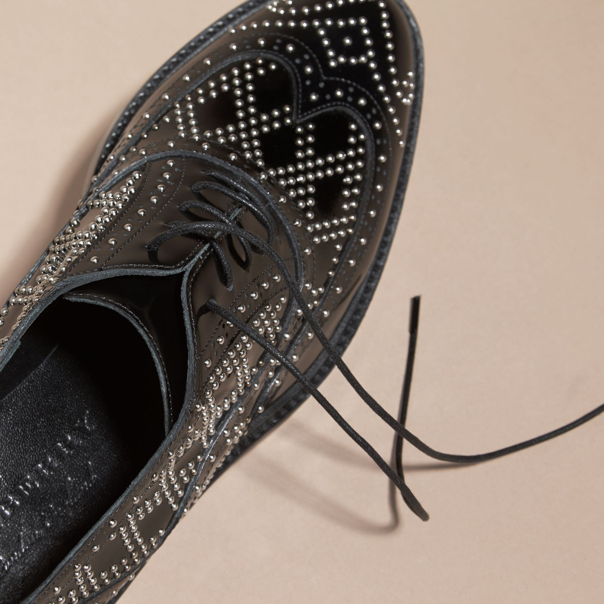 Black Studded Leather Wingtip Brogues - gallery image 2