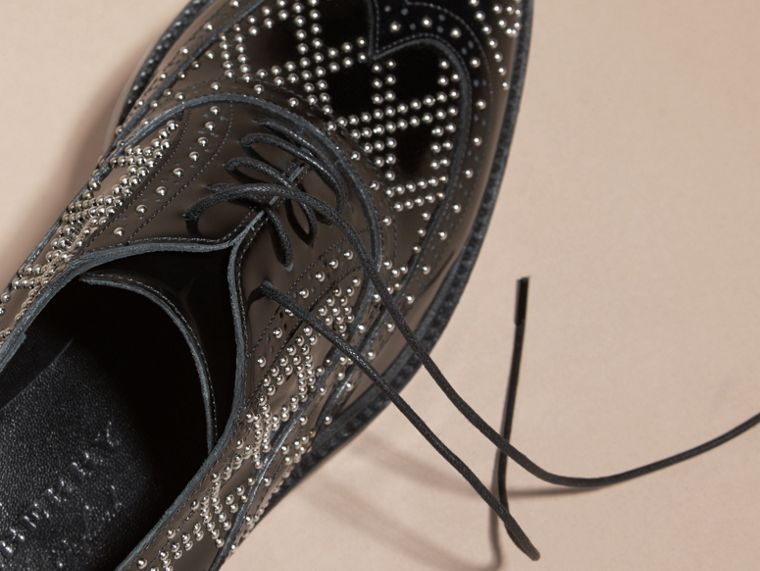 Black Studded Leather Wingtip Brogues - cell image 1