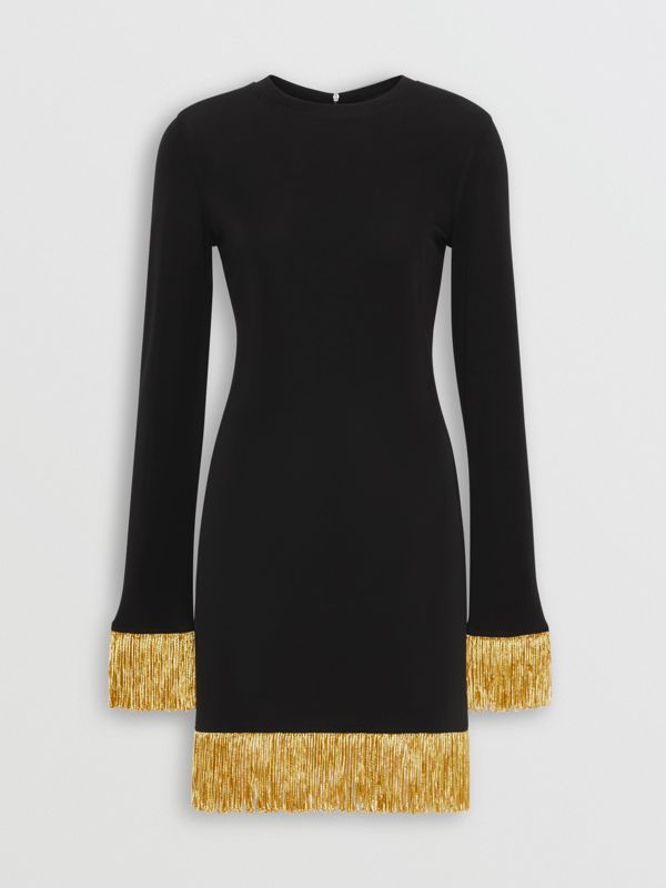Metallic Fringe Detail Stretch Jersey Dress in Black - Women | Burberry - cell image 3