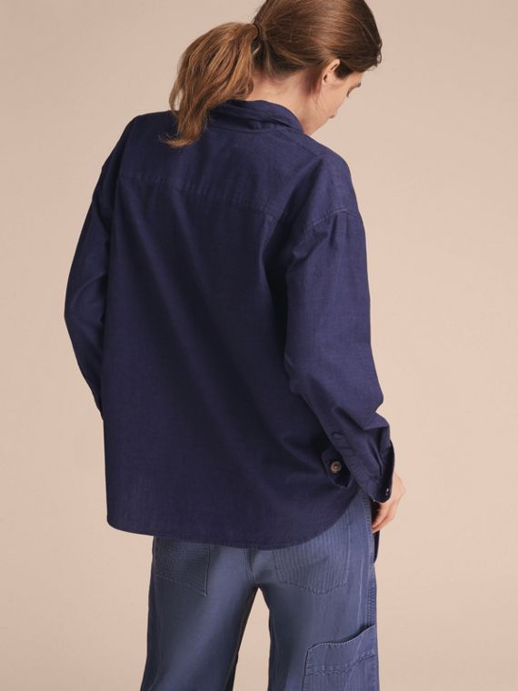 Neck Tie Cotton Chambray Shirt - cell image 2