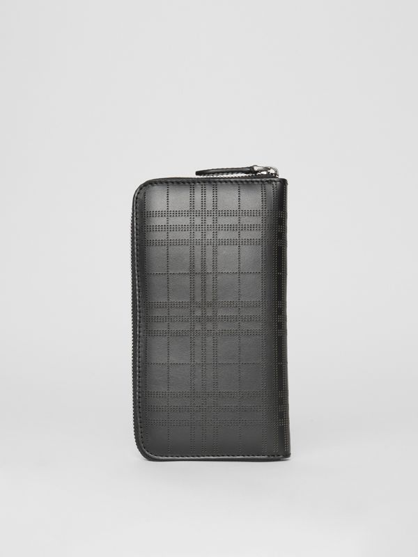 Perforated Check Leather Ziparound Wallet in Black - Men | Burberry Australia - cell image 2