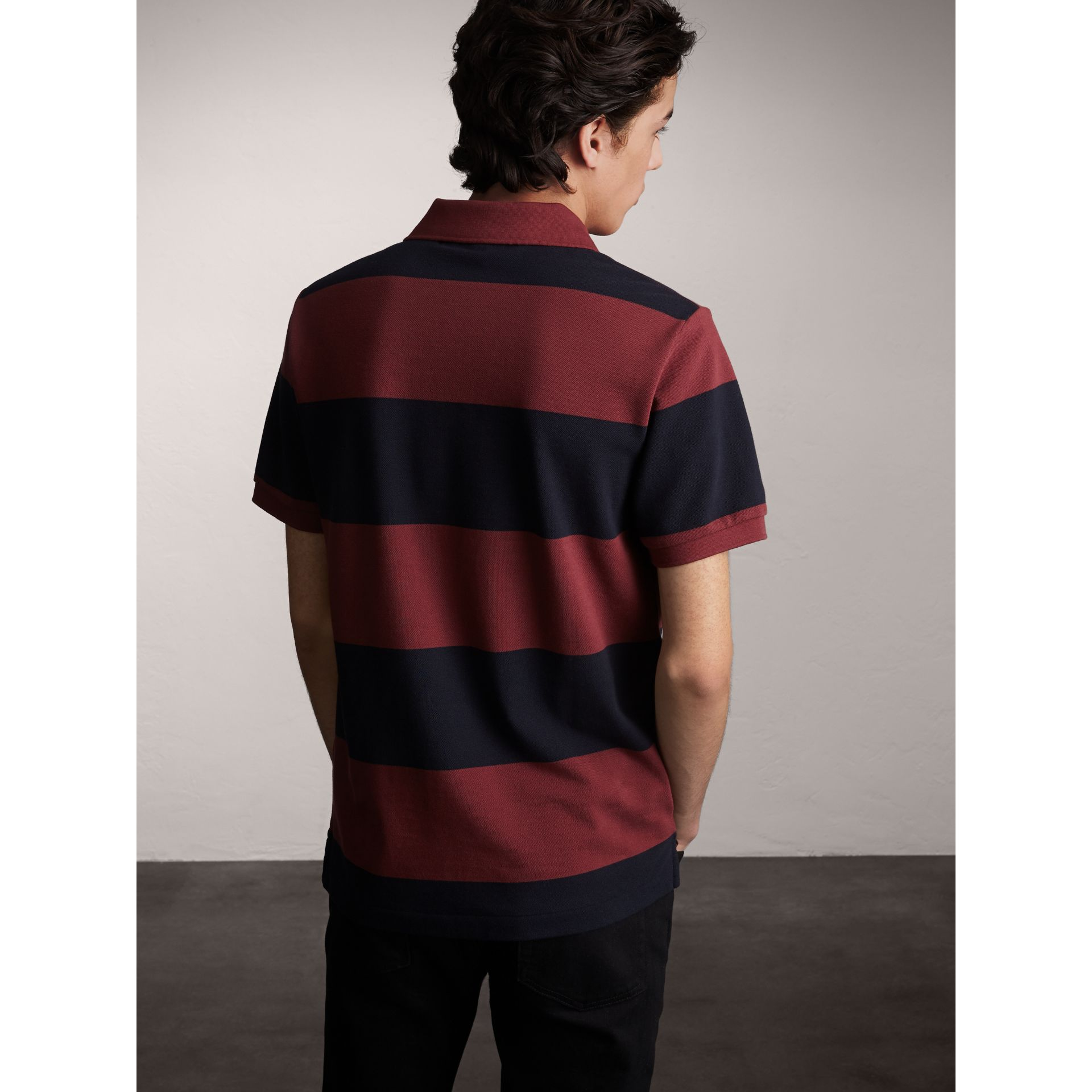 Striped Cotton Piqué Polo Shirt in Burgundy/navy - Men | Burberry Singapore - gallery image 2