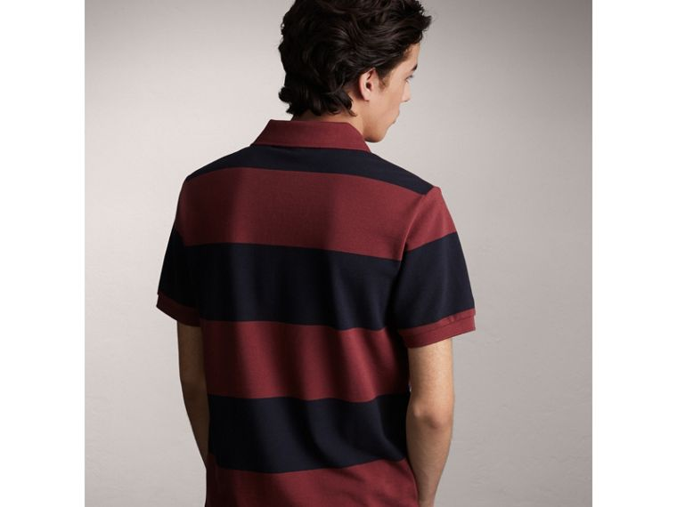 Striped Cotton Piqué Polo Shirt in Burgundy/navy - Men | Burberry Singapore - cell image 1