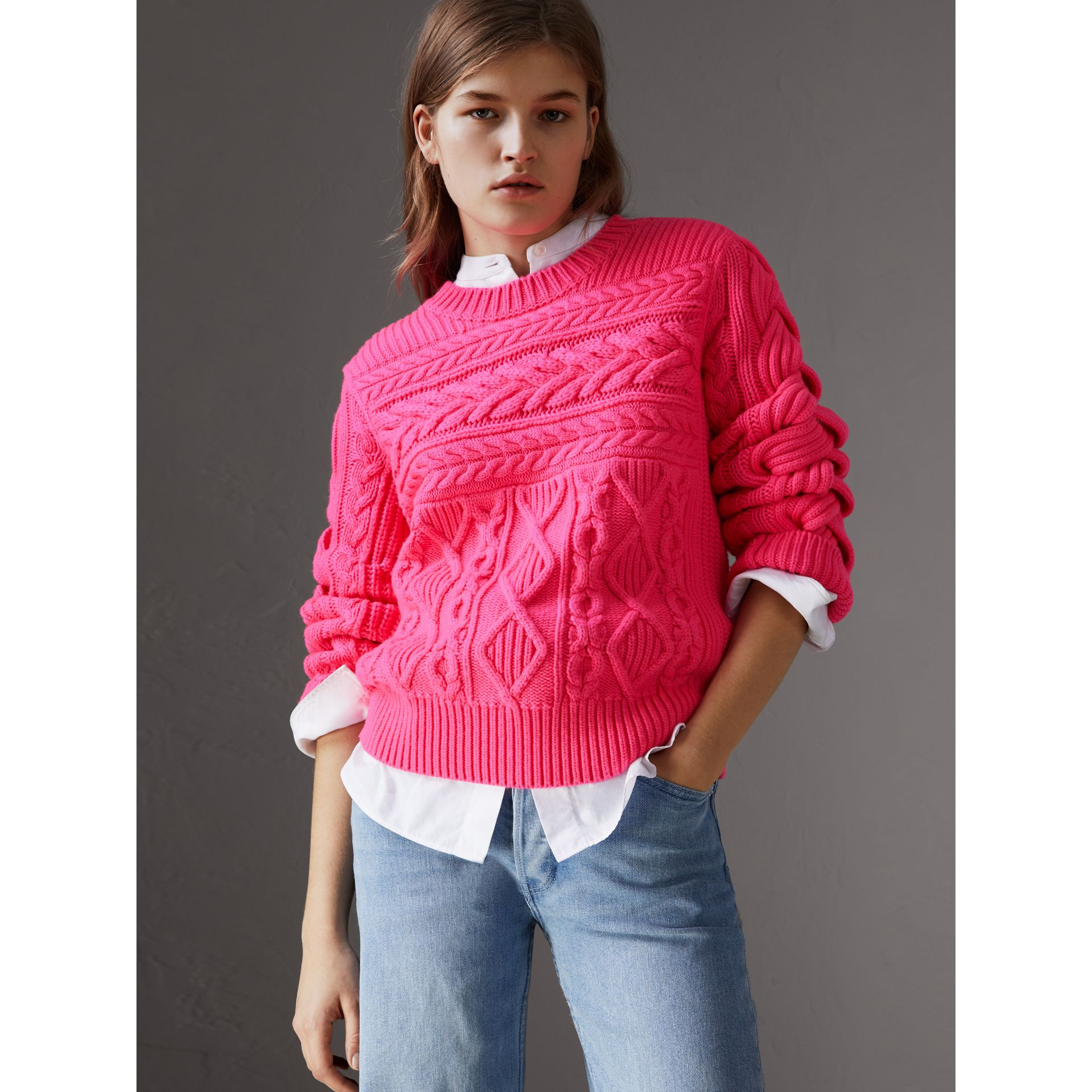 Aran Knit Wool Cashmere Sweater in Bright Rose Pink - Women | Burberry - gallery image 1