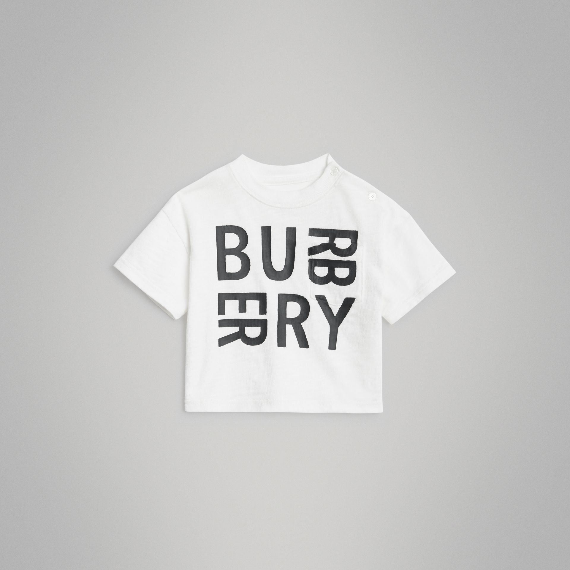 Logo Print Cotton T-shirt in White - Children | Burberry Canada - gallery image 0