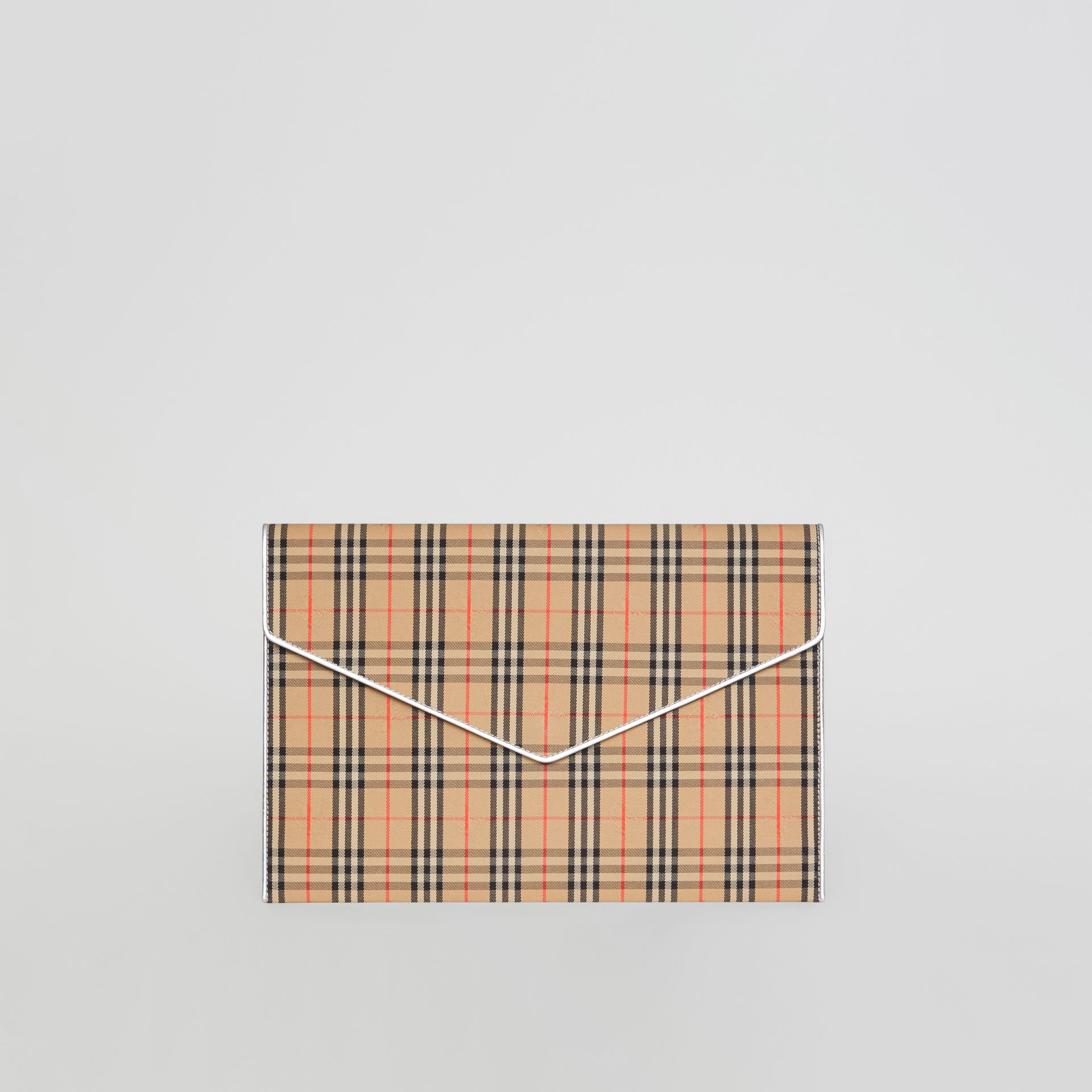Large 1983 Check Envelope Pouch in Silver - Women | Burberry - gallery image 0