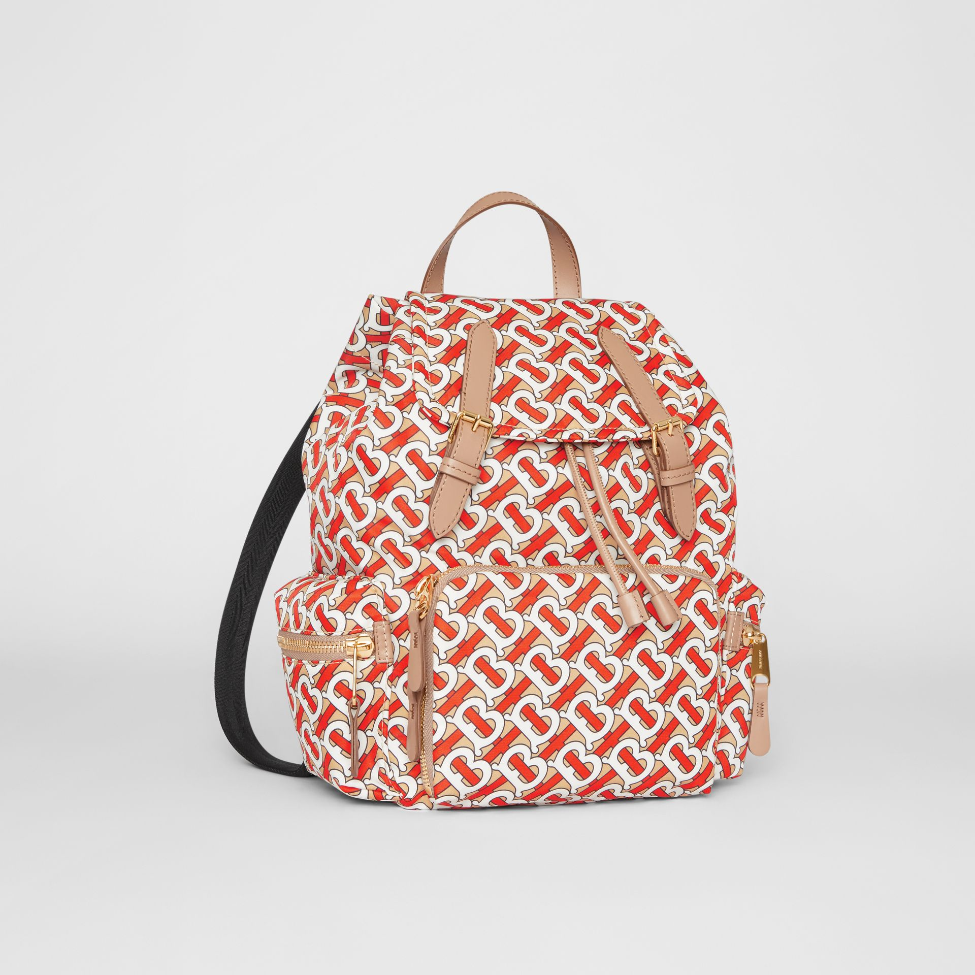 The Medium Rucksack in Monogram Print Nylon in Vermilion - Women | Burberry Canada - gallery image 6