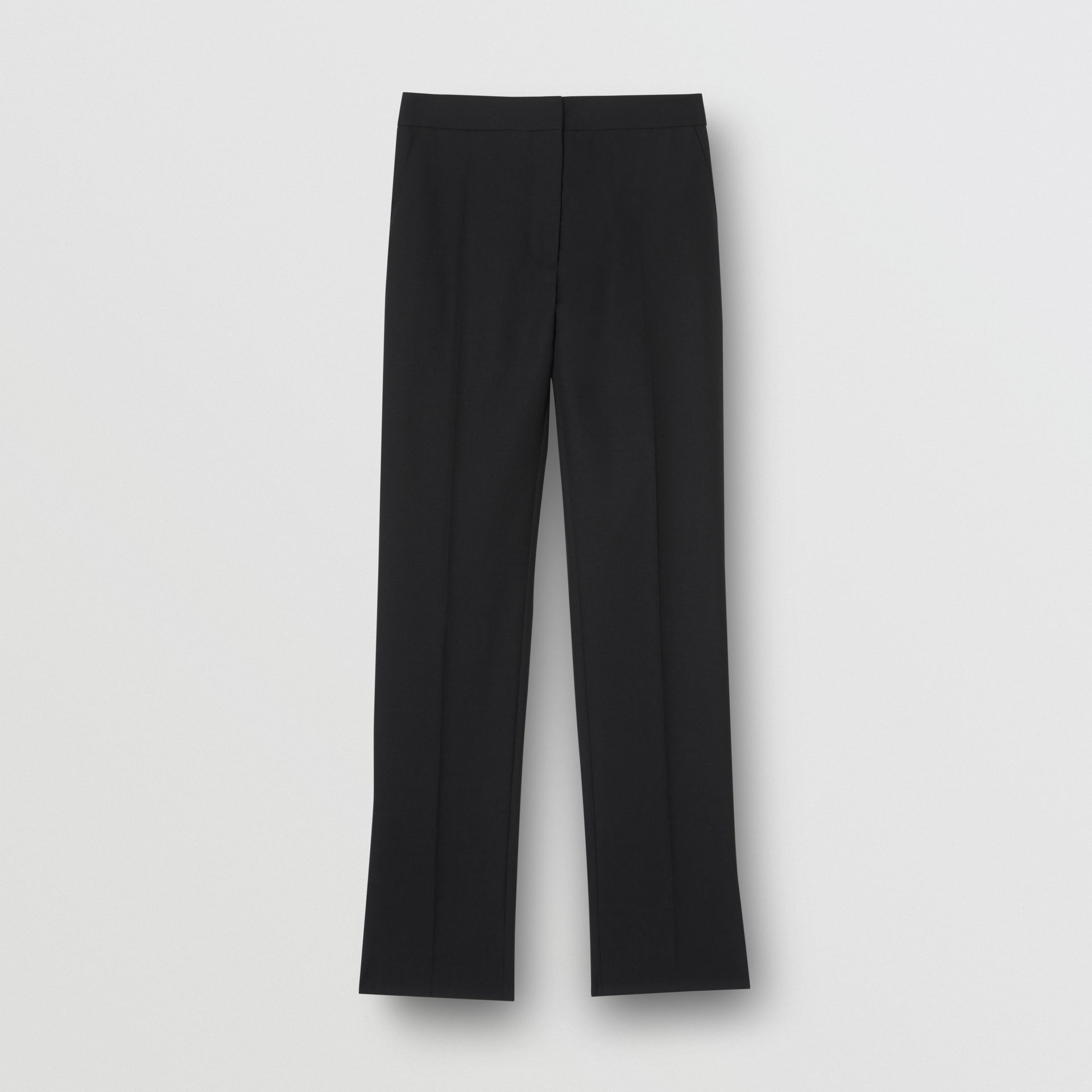 Satin Stripe Detail Wool Tailored Trousers in Black - Women | Burberry United Kingdom - gallery image 3