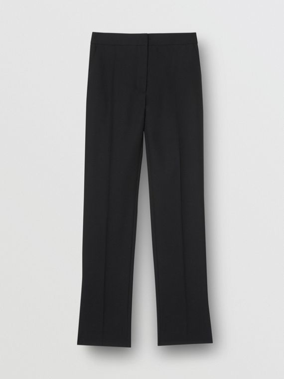 Satin Stripe Detail Wool Tailored Trousers in Black