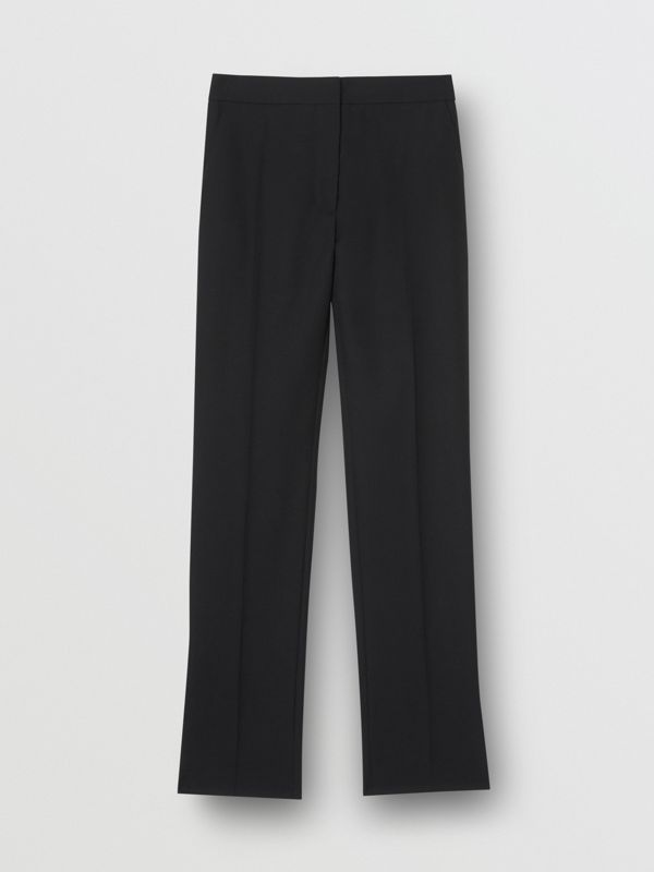 Satin Stripe Detail Wool Tailored Trousers in Black - Women | Burberry - cell image 3