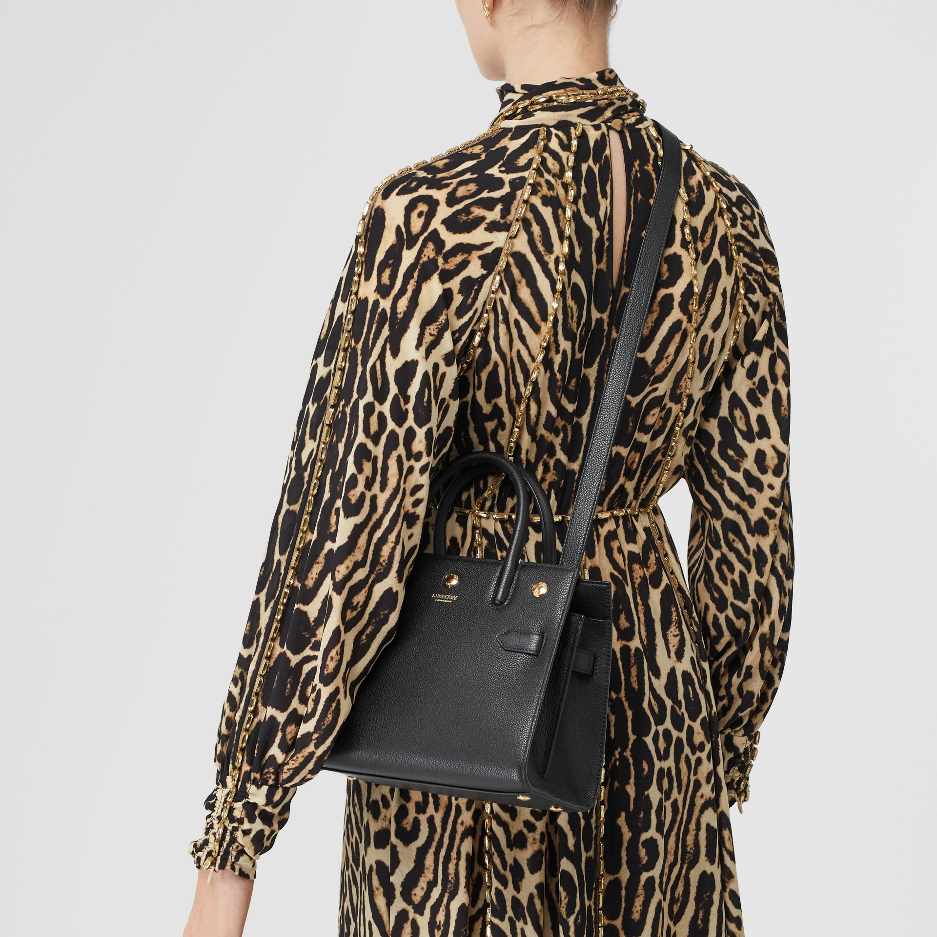 Mini Leather Two-handle Title Bag in Black - Women   Burberry United Kingdom - gallery image 8