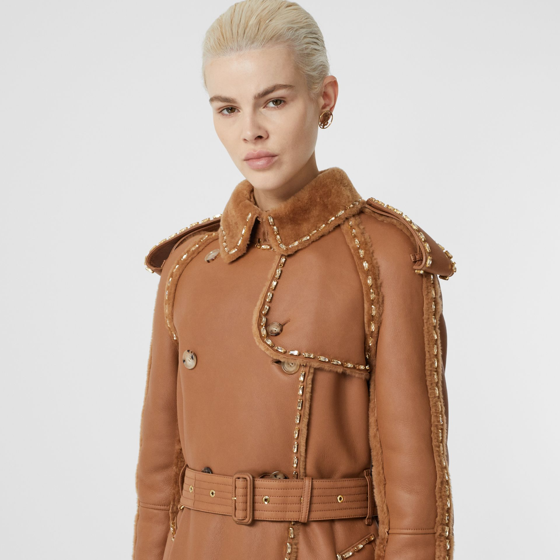 Embellished Shearling Trench Coat in Warm Camel - Women | Burberry - gallery image 5