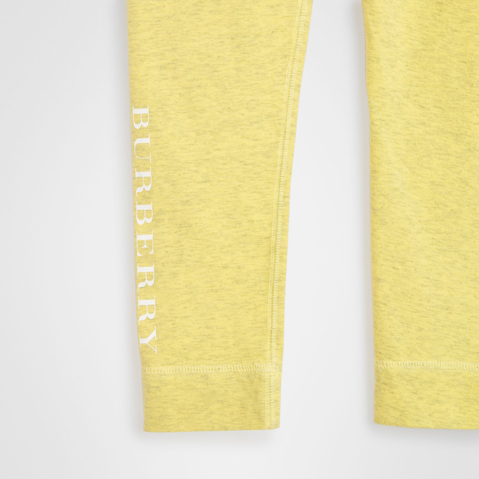 Logo Print Stretch Cotton Leggings in Citrus Yellow | Burberry - gallery image 4