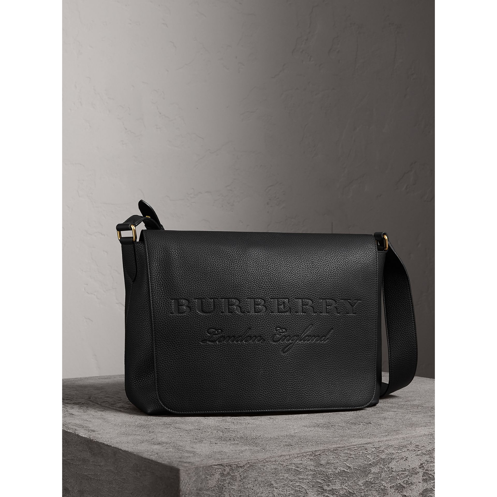Large Embossed Leather Messenger Bag in Black | Burberry United States - gallery image 5