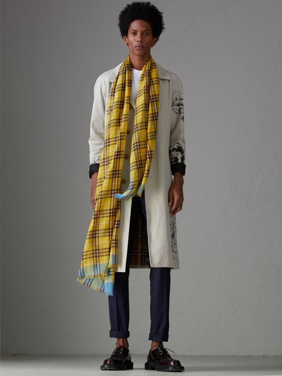 Check Wool Silk Scarf in Bright Yellow | Burberry Hong Kong - cell image 3